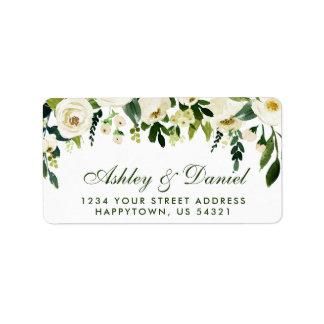Étiquette GS blanc vert floral de mariage d'aquarelle