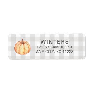 Étiquette Guingan de citrouille de chute, automne de pays