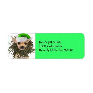 Étiquette Guirlande et casquette de Noël de chiwawa