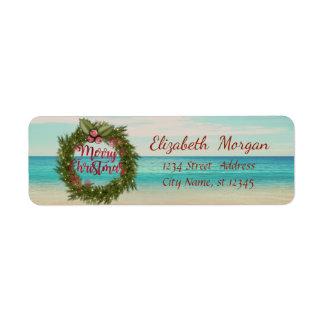 Étiquette Guirlande tropicale de Noël, plage