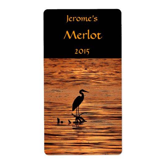 Étiquette Héron à l'étiquette de vin de coucher du soleil