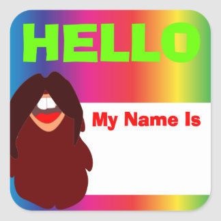 Sticker Carré Étiquette hippie de nom d'arc-en-ciel de barbe