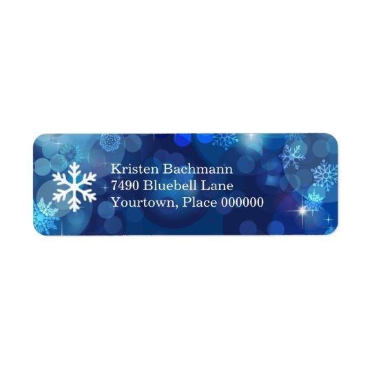 Étiquette Hiver bleu de Bokeh de flocon de neige