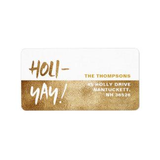 Étiquette HOLI-YAY ! Vacances de typographie d'amusement