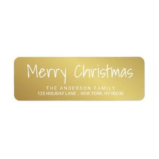 Étiquette imprimé à la main d'or de lettrage de étiquette d'adresse retour