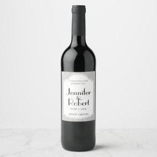 Étiquette incurvé de vin de gris argenté de diva