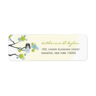 Étiquette Inséparables de fleurs de cerisier épousant des