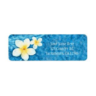 Étiquette Invitation bleue d'été de fleur tropicale de