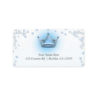 Étiquette Invitation bleue et argentée de confettis de