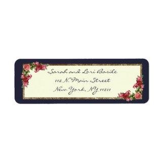 Étiquette Invitations du bonbon 16 à bleu marine et à or de