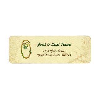 Étiquette irlandais du monogramme 0 d'or