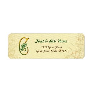 Étiquette irlandais du monogramme C d'or