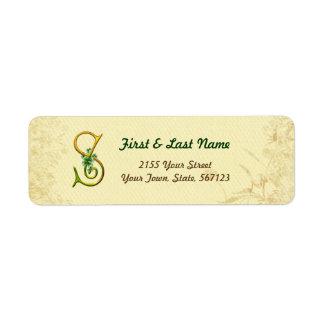 Étiquette irlandais du monogramme S d'or
