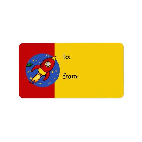 Étiquette jaune rouge de cadeau de Rocket