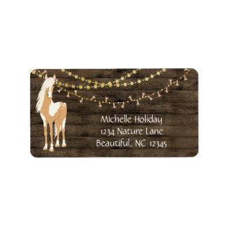 Étiquette Joli cheval et adresse en bois rustique de fleurs