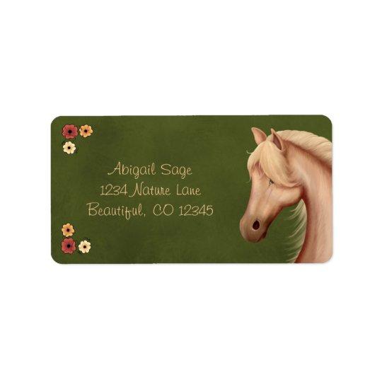 Étiquette Jolie adresse de poney de palomino et de cheval de