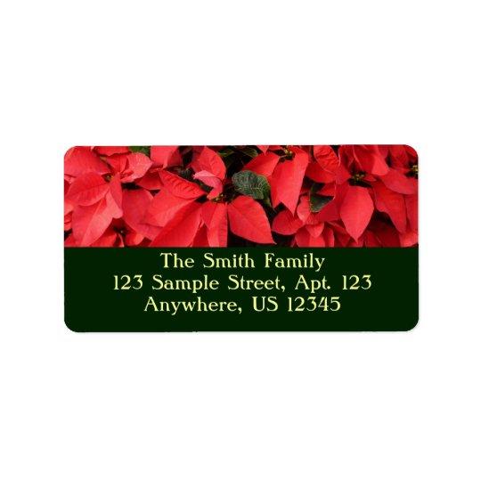 Étiquette Jolies vacances de Noël des poinsettias II rouge