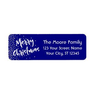Étiquette Joyeux Noël blanc avec les confettis argentés