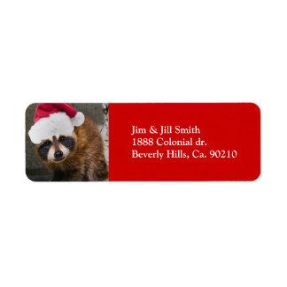 Étiquette Joyeux Noël de raton laveur