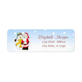 Étiquette Joyeux Noël, le père noël, bonhomme de neige