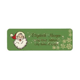 Étiquette Joyeux Noël, le père noël, étincelle, flocons de