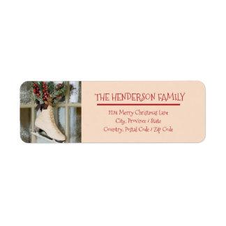Étiquette Joyeux Noël - patinant - autocollant d'adresse de
