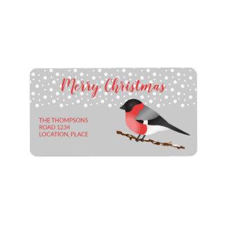Étiquette Joyeux Noël Personalizable de bouvreuil eurasien