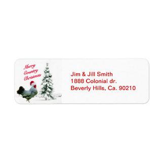 Étiquette Joyeux poulet de Noël de pays avec le casquette de