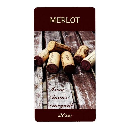 Étiquette La bouteille de vin bouche l'étiquette de
