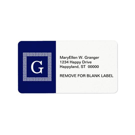 Étiquette La clé grecque blanche #1 de bleu marine a encadré