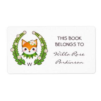 Étiquette La guirlande florale de Fox ce livre appartient à