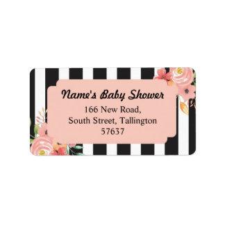 Étiquette La pêche d'adresse marque la fleur de baby shower