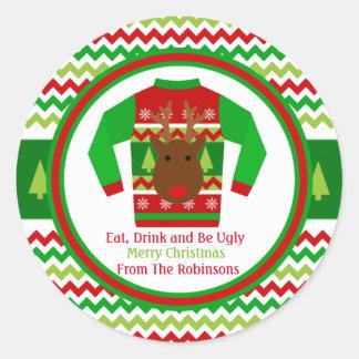Étiquette laide de cadeau de Noël de chandail