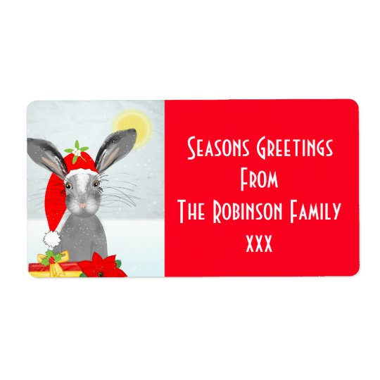 Étiquette Lapin mignon de vacances de Noël Editable