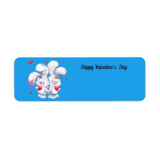 Étiquette Lapins de heureuse Sainte-Valentin