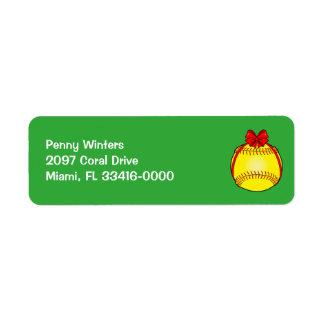 Étiquette Le base-ball avec un arc à Noël