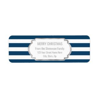 Étiquette Le bleu marine barre le Joyeux Noël argenté