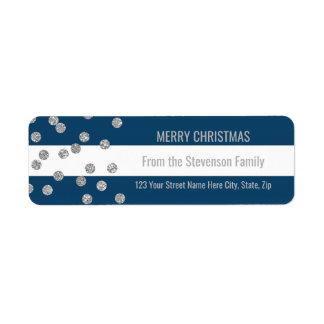 Étiquette Le bleu marine barre le Joyeux Noël de confettis