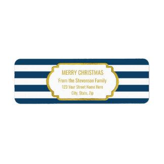 Étiquette Le bleu marine barre le Joyeux Noël d'or