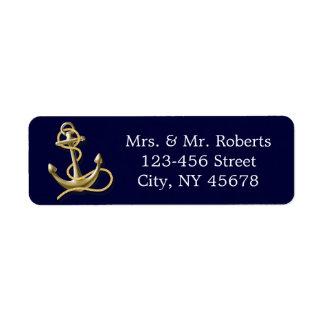 Étiquette le bleu marine barre le mariage nautique d'ancre
