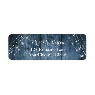 Étiquette Le bois bleu rustique, la lumière blanche ficelle