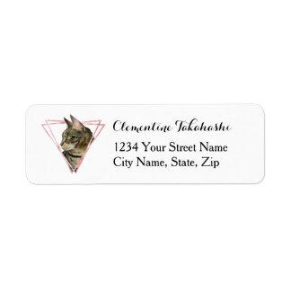 Étiquette Le chat tigré avec le Faux rougissent cadre