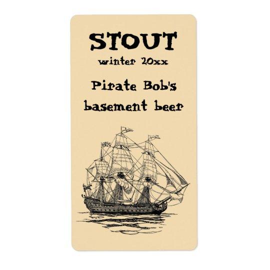 Étiquette Le cru pirate le galion, croquis d'un bateau