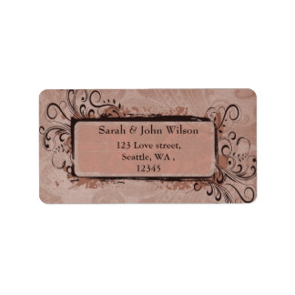 Étiquette Le cru rustique rougissent mariage rose