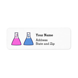 Étiquette Le genre rose et bleu de becher de la Science de