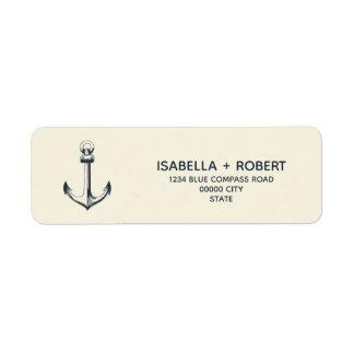 Étiquette Le mariage maritime nautique bleu de l'ancre |