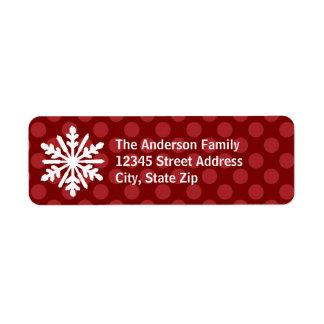 Étiquette Le mod rouge pointille le flocon de neige -