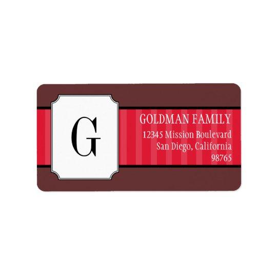 Étiquette Le rouge classique barre l'adresse de retour de mo