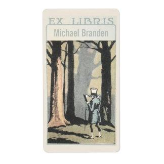 Étiquette Lecture vintage d'homme dans l'ex-libris ex de
