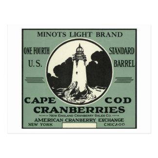 Étiquette léger de canneberge de marque de Cape Cartes Postales